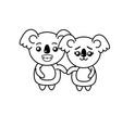 line cute couple koala wild animal with beautiful vector image vector image