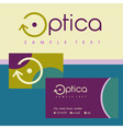 logo business card for optics Colored background vector image vector image