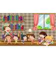 Many girls reading books in room vector image vector image