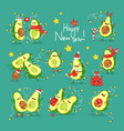 merry christmas and happy new year sticker set vector image vector image