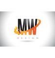 mw m w letter logo with fire flames design and vector image vector image