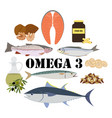 omega 3 healthy nutrient rich food vector image vector image