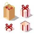 Opened and closed present gift boxes vector image
