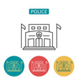 police station building outline icons set vector image