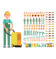 professional man cleaner in cleaning service vector image vector image