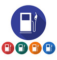 round icon of fuel station flat style with long vector image