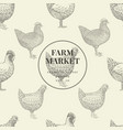seamless farm pattern graphical hen vector image vector image