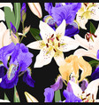 Seamless pattern with lilies and irises