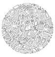 set art cartoon doodle objects vector image