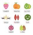 set cartoon alphabet fruits and berries vector image