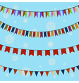 set festive colored flags on curved ropes vector image vector image