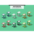 Set of added tables in isometric style vector image vector image