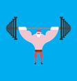 strong santa claus barbell press overhead vector image vector image