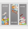 three banners with colorful cartoon travel doodles vector image vector image