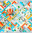 top view city with hot air balloon town vector image vector image