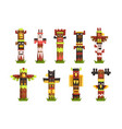 traditional religious totem poles set native vector image vector image