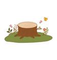 tree trunk cut in field vector image vector image