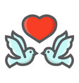 wedding doves with heart filled outline icon vector image vector image