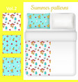 white blank and summer bed linen set vector image vector image