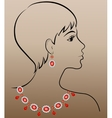 woman with jewelry necklace and earrings vector image vector image