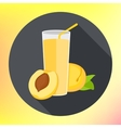 Glass peach apricot juice flat vector image