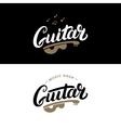 Set of guitar shop hand written lettering logos vector image