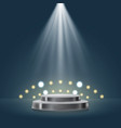 3d stage with sport light in blue background vector image