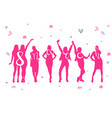 8 march holiday poster with pink cheerful women vector image
