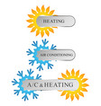 air conditioning and heating for business sun and vector image vector image