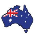 australian flag in map australia vector image vector image