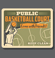 basketball sport player and court poster vector image vector image
