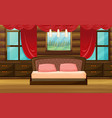 bedroom scene with wooden bed vector image