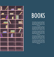 book store promotion poster with wooden bookcase vector image vector image