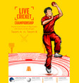 bowler bowling in cricket championship sports vector image vector image