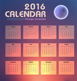 Calendar 2016 night sky and moon background design vector image