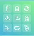 camping line icons set vector image