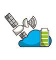 cloud computing satellite and battery autonomous vector image