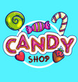 colorful candy shop label on blue background vector image vector image