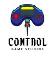 control game studios joystick flies background vec vector image