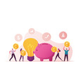 crowdfunding concept tiny people inserting golden vector image