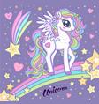 cute magical unicorn on a rainbow among stars vector image vector image