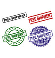 damaged textured free shipment stamp seals vector image vector image