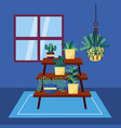 decorative house plants interior design vector image vector image