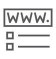 domain registration line icon website and network vector image