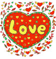 doodle with love word lettering vector image