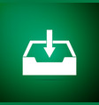 download inbox icon isolated on green background vector image