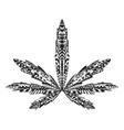 entangle stylized marijuana leaf sketch vector image vector image