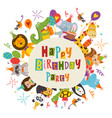 frame happy birthday with funny animals vector image vector image