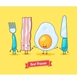 funny cartoon Funny egg bacon knife vector image