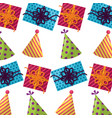 gift box present with hat party pattern vector image vector image